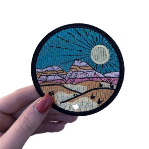 'Desert scape' colourful iron-on patch 1