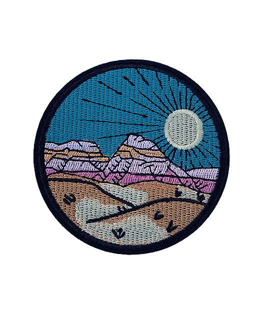 'Desert scape' colourful iron-on patch