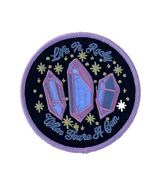 'Life is rocky when you're a gem' pale pink iron-on patch