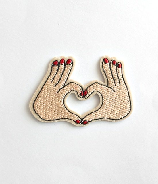 Hand heart iron on patch 1