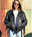Vintage leather biker tassle jacket customised 1
