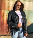 Vintage leather biker tassle jacket customised 3