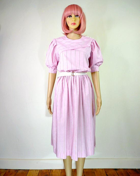 80s vintage pink candy stipe dress 1