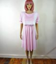 80s vintage pink lace summer dress 1