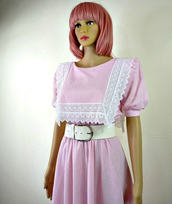 80s vintage pink lace summer dress 2