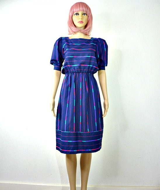 80s vintage spectrum striped day dress 1