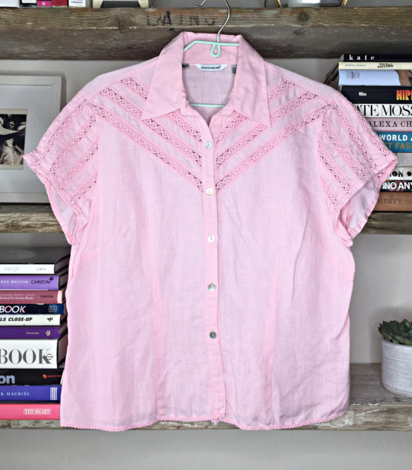 80s vintage blouse baby pink 1